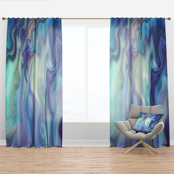 Designart 'Marbled Colours in Shades of Turquoise and Purple' Modern & Contemporary Curtain Panel. Opens flyout.