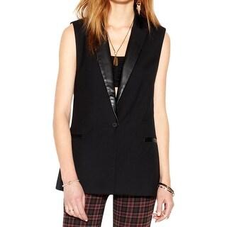 Sanctuary Womens Vest Faux Leather Notch Collar