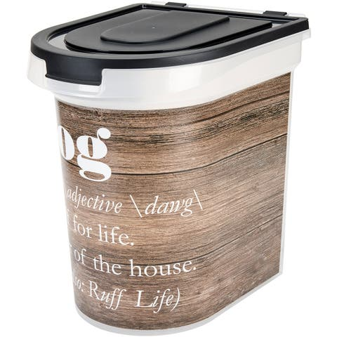 "Plastic Rolling Pet Food Bin 15.5""X13.25""X16.75""-Wood Grain"