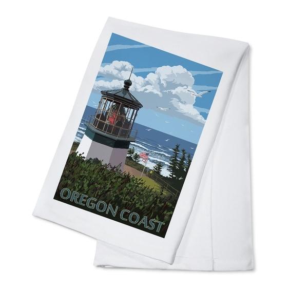 Oregon Coast - Lighthouse Scene - LP Artwork (100% Cotton Towel Absorbent)