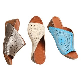 "Avanti Women's Sandals - Summer Days Laser-Cut Upper, 1 1/2"" Wedge Heel Shoes"
