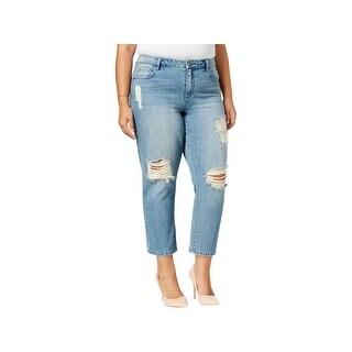 Rachel Rachel Roy Womens Plus Sally Ankle Jeans Distressed Mid-Rise