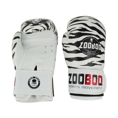 Zooboo Authorized Punching Mitts Kickboxing Fighting Boxing Gloves White 10oz