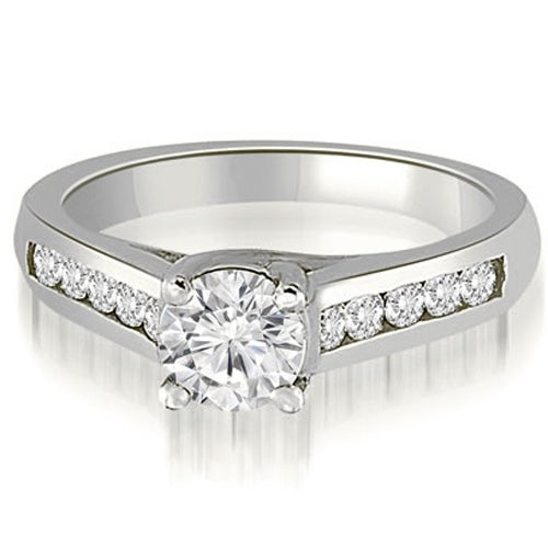 0.66 cttw. 14K White Gold Trellis Cathedral Round Cut Diamond Engagement Ring