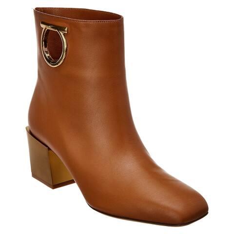 Salvatore Ferragamo Mirror Heel Leather Boot