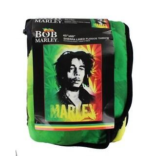 "Bob Marley 45x60"" Fleece Throw Blanket with Sherpa Lining - Multi"