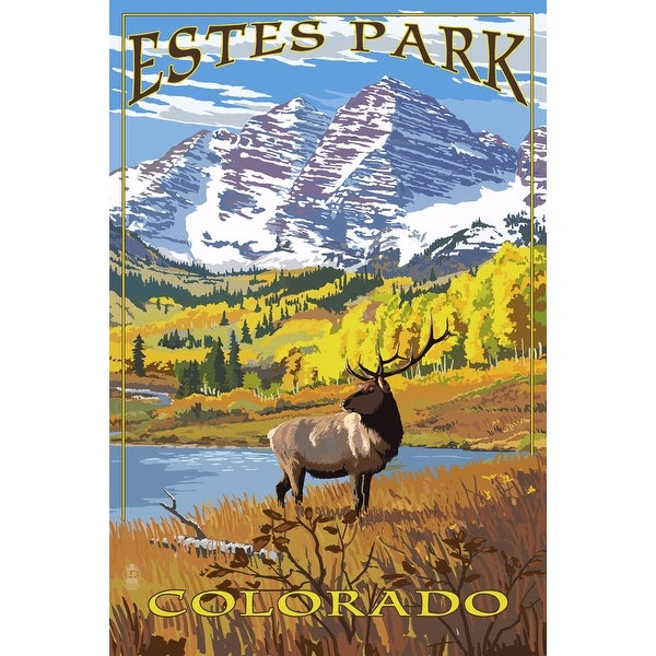 Estes Park, CO - Mountains & Elk - LP Artwork (100% Cotton Towel Absorbent)