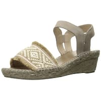 André Assous Womens Dana Suede Open Toe Casual Espadrille Sandals - Taupe - 6