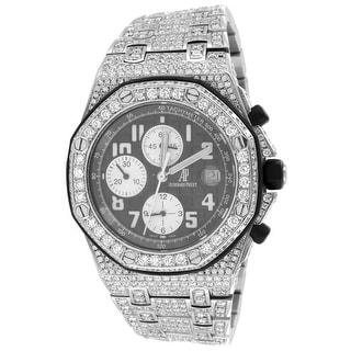 Audemars Piguet Royal Oak Offshore Genuine Diamond AP Watch 28.50 Carat - Silver