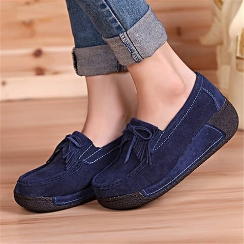 Fashion Women's Casual Fringed Heavy-Bottom Bow Leather Shoes