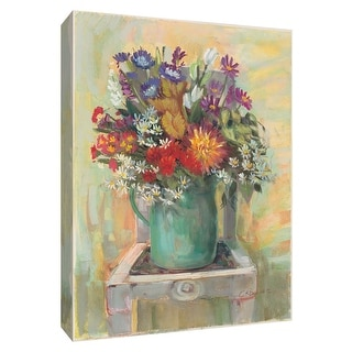 """PTM Images 9-154245  PTM Canvas Collection 10"""" x 8"""" - """"Flowers on Chair I"""" Giclee Flowers Art Print on Canvas"""