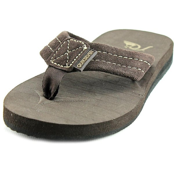 0484d7164555 Shop Quiksilver Carver Youth Open Toe Suede Brown Thong Sandal ...