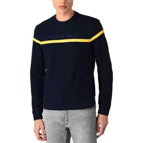 Armani Jeans Mens Embroidery Logo Sweatshirt Small Black/Yellow