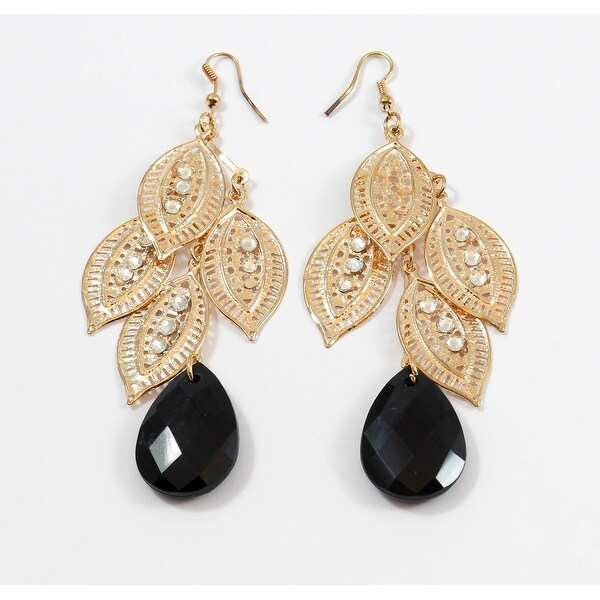 Edged Hanging Multi Leaf Teardrop With Stone Earrings, Gold