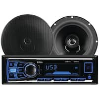 BOSS AUDIO 636CK Single-DIN In-Dash Mechless AM/FM Receiver System with Speakers