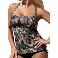 Sexy Women Camouflage Print Tankini Set Top + Underwear Swimsuit Bathing Suit
