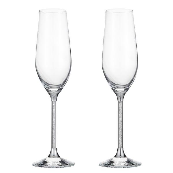 Matashi Crystal Champagne Flutes Glasses Set 8 oz- Lead-Free Crystal Sparkling Wine Glasses, Elegant Crystal Filled Glassware. Opens flyout.
