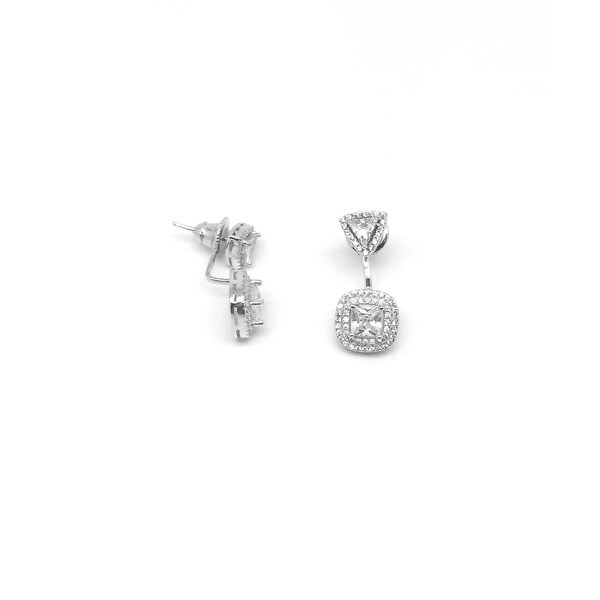 925 Sterling Silver Square Ear Jacket with Cubic Zirconia