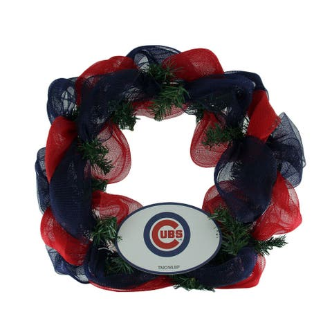 MLB Chicago Cubs Logo Mesh Holiday Door Wreath - Multicolored - 19.5 X 19.5 X 3.5 inches