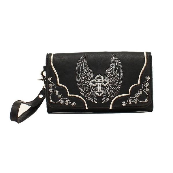 Blazin Roxx Western Wallet Womens Clutch Wings Cross Black N7558601 - 7 1/2 x 4