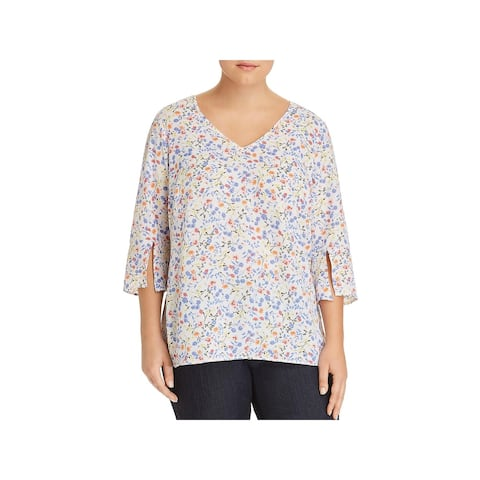 Status by Chenault Womens Plus Blouse Tie-Front Flutter-Sleeve