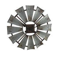 Rustic Galvanized Grey 16 inch Metal Windmill Wall Clock