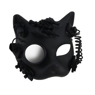 Robot Kitty Black Half Face Steampunk Gatto Mask