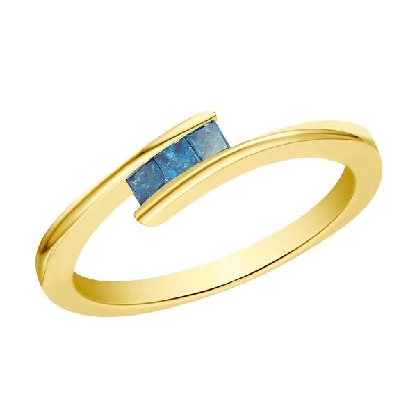 Prism Jewel 0.16ct Princess Cut 2.00MM Blue Color Diamond 3-Stone Ring
