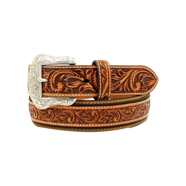 Nocona Western Belt Mens Round Conchos Embossed Overlay Tan