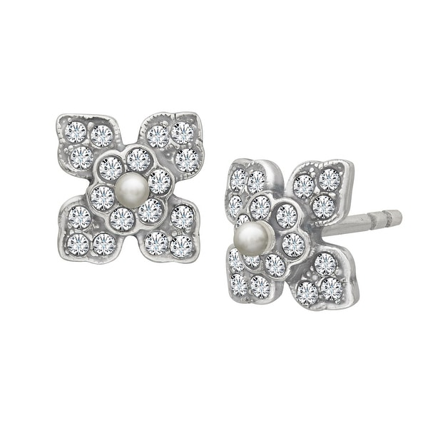 Van Kempen Victorian Earrings with Swarovski Crystals in Sterling Silver - White