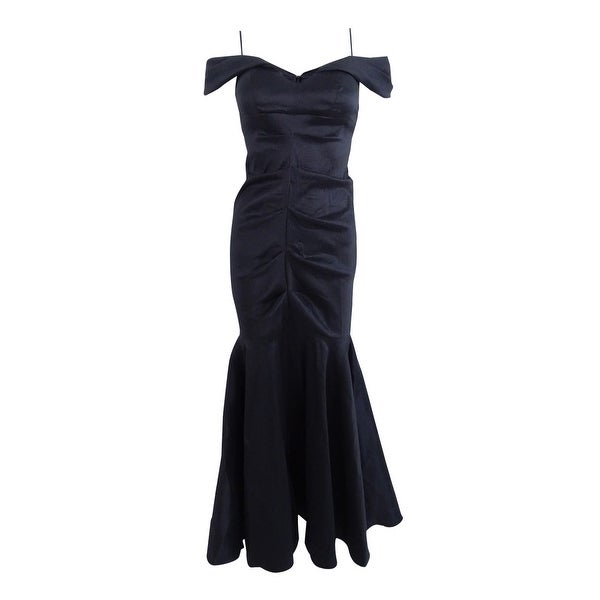 Xscape Women\'s Petite Off-The-Shoulder Ruched Mermaid Gown - Black ...