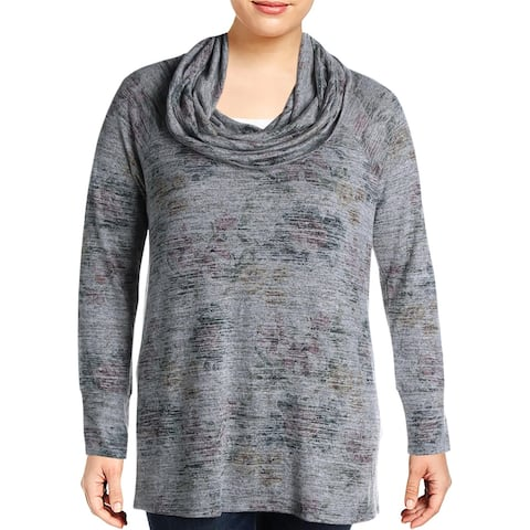 Cupio Womens Sweater Cowl Neck Heathered - Grey Multi