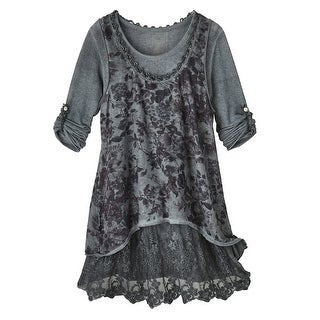 Women's Rose Lace Vest-And-T-Shirt Set
