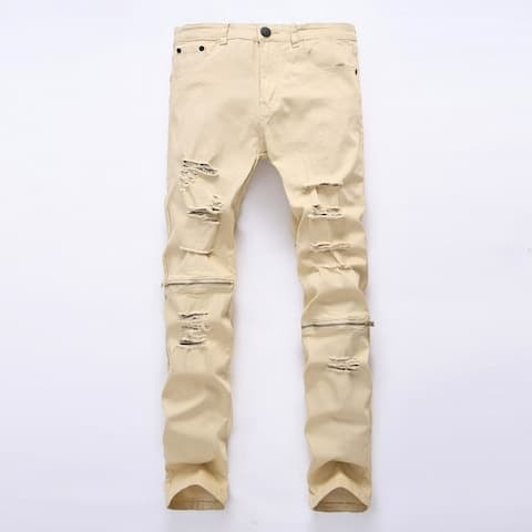 Men Ripped Skinny Distressed Destroyed Straight Fit Zipper Jeans With Holes