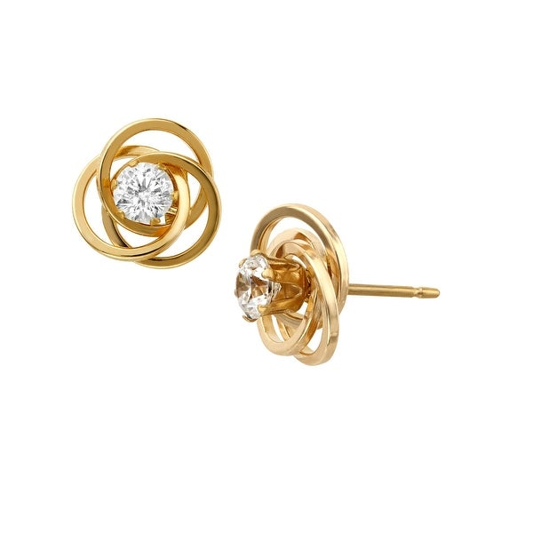 Love Knot Stud Earrings with Cubic Zirconia in 14K Gold