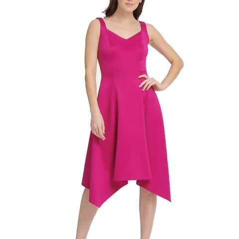 DKNY Women's Dress Fuschia A-Line Handkerchief Hem V Neck