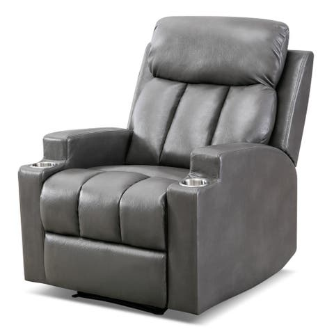 Breathable PU leather recliner with 2 cup holders