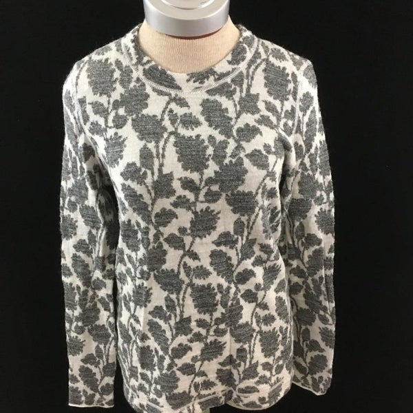 4d9e5171a32 Shop Ann Taylor LOFT long sleeve sweater Size M gray white floral womens -  Free Shipping On Orders Over  45 - Overstock - 23065360