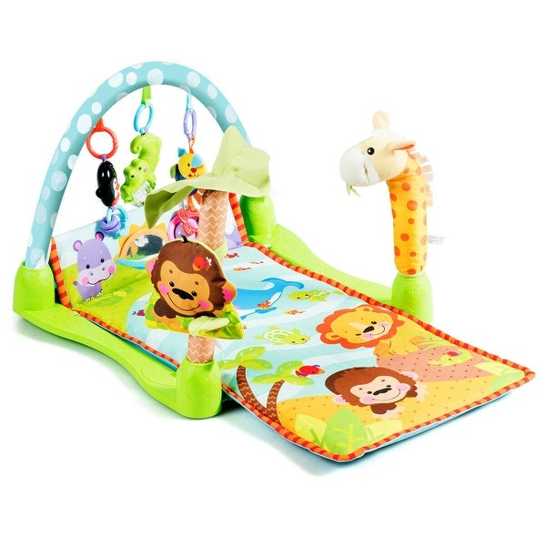 Gymax 4-in-1 Baby Activity Play Mat Activity Center w/3 Hanging Toys - Green. Opens flyout.