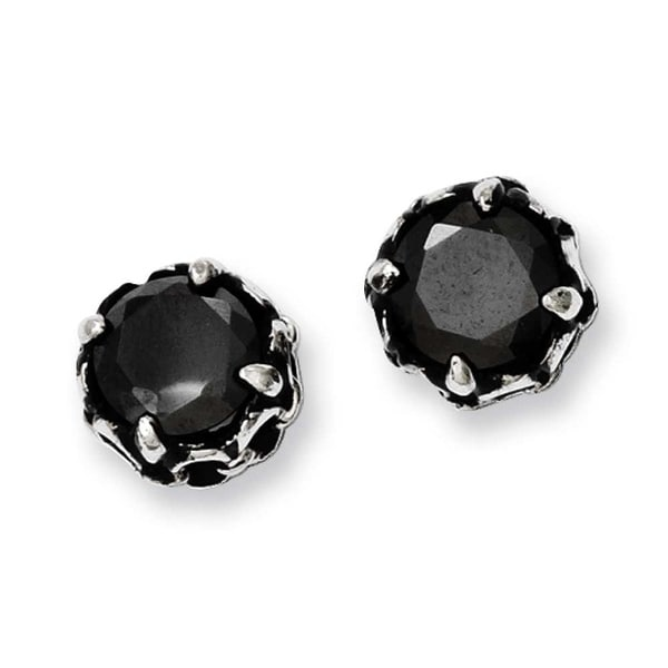 Chisel Stainless Steel Black CZ Antiqued Post Earrings