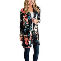 Women Casual Long Sleeve Fall Floral Cotton Kimono