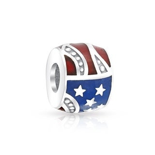 Bling Jewelry Sterling Silver Patriotic Stars Stripes Flag Bead Charm