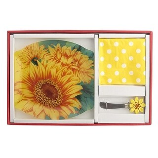 "13"" Yellow and Green Sunflower Hostess Set"