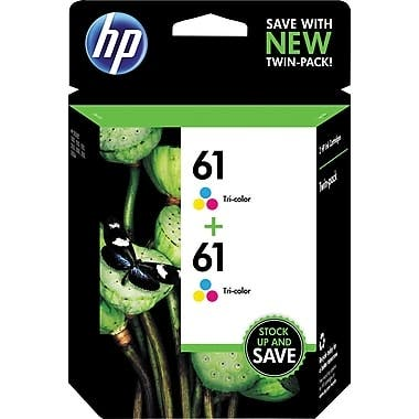 HP 61 Tri-color Original Ink Cartridges, 2 pack CZ074FN