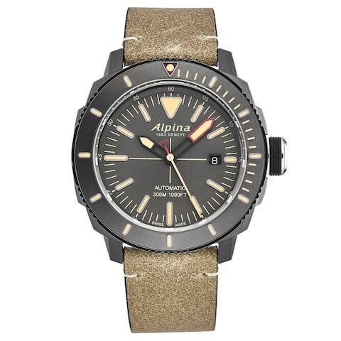 Alpina mens 'seastrong diver' grey dial brown leather automatic watch al525lgg4tv6