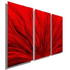 Statements2000 Red 3 Panel Contemporary Metal Wall Art by Jon Allen - Red Plumage 3P