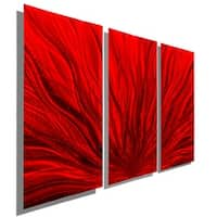Statements2000 Red Abstract Metal Wall Art Panels by Jon Allen - Red Plumage 3P