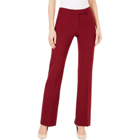 Anne Klein Womens Crepe Casual Trouser Pants, Red, 8 Long