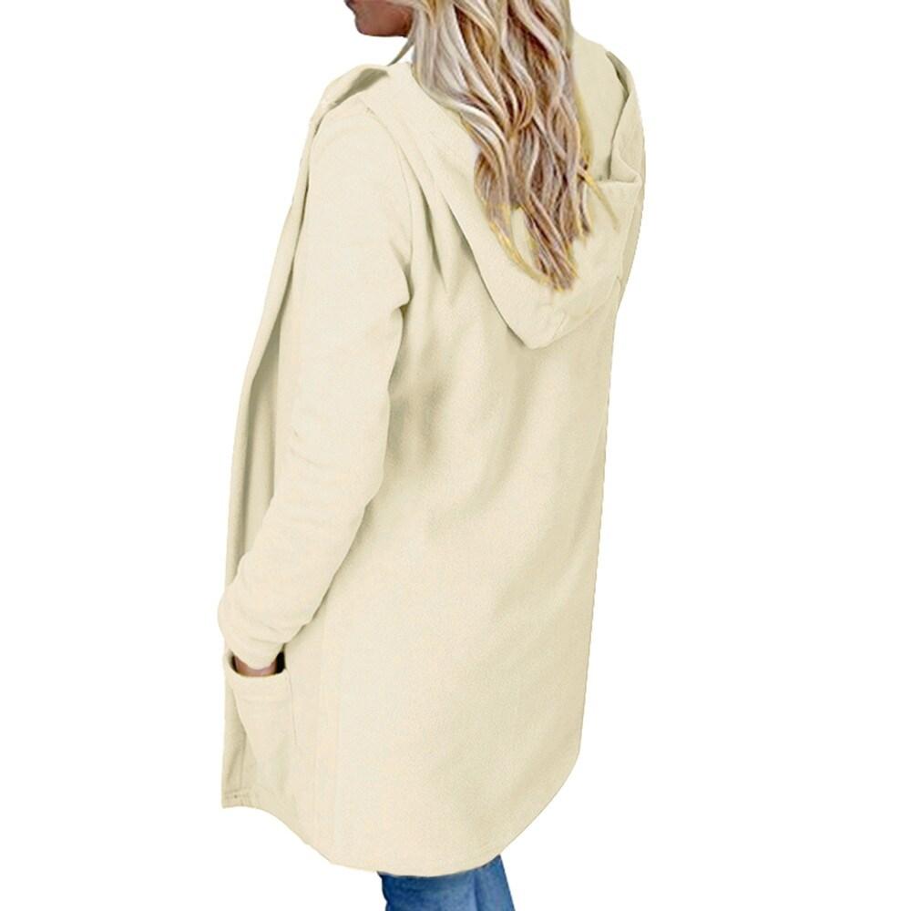 Womens Faux Fur Hooded Long Coat Jacket Hoodies Parka Outwear Cardigan Coat