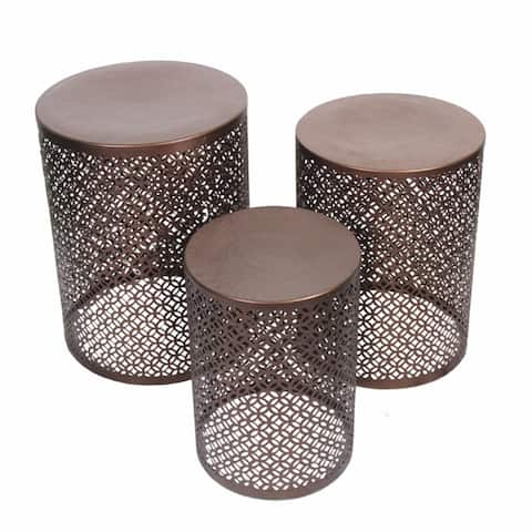 Stylish 3 Piece Round Stools With Cutouts Pattern, Copper